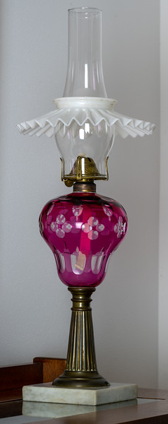 Sandwich Cut Glass Oil Lamp
