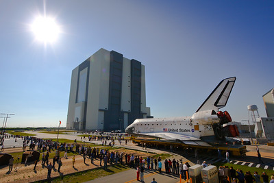 Space shuttle Atlantis rolls from Orbiter Processing Facility #1 to the Vehicle Assembly Building in preparation for the final shuttle mission.