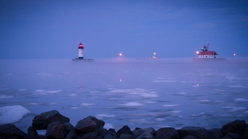Duluth Harbor with Fog and Ice