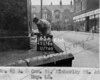 SK378865A, Man marking Ordnance Survey minor control revision point with an arrow in 1940s Sheffield