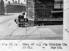 SK378856B, Man marking Ordnance Survey minor control revision point with an arrow in 1940s Sheffield