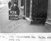 SK378893B, Man marking Ordnance Survey minor control revision point with an arrow in 1940s Sheffield