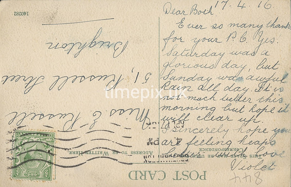 FGOS_00844r, Reverse of an Edwardian postcard of Shirley, Southampton, posted in 1916