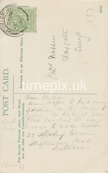 FGOS_00891r, Reverse of an Edwardian postcard of Netley Abbey by FGO Stuart, posted in July 1906