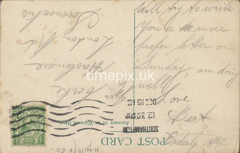 FGOS_01703r, Reverse of an Edwardian postcard of Netley Abbey by FGO Stuart, posted in 1916