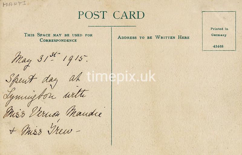 FGOS_01223r, Reverse of Edwardian postcard of High Street, Lymington by FGO Stuart dated 1915