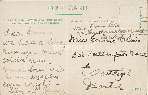 FGOS_01058, Reverse of an Edwardian postcard of Shirley, Southampton, posted in 1900s