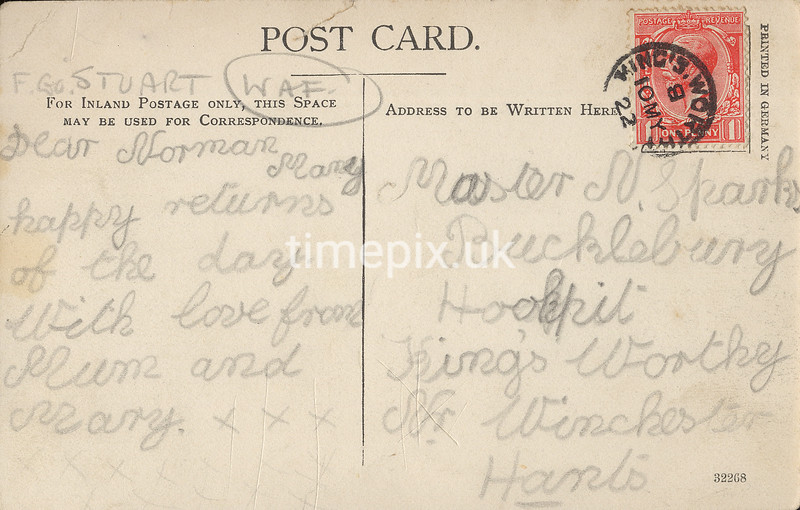 FGOS_00185r, Reverse of an Edwardian postcard of Netley Abbey by FGO Stuart, posted in 1922
