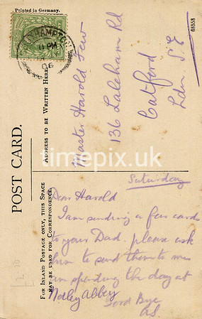 FGOS_00184r, Reverse of an Edwardian postcard of Netley Abbey by FGO Stuart, posted in July 1906
