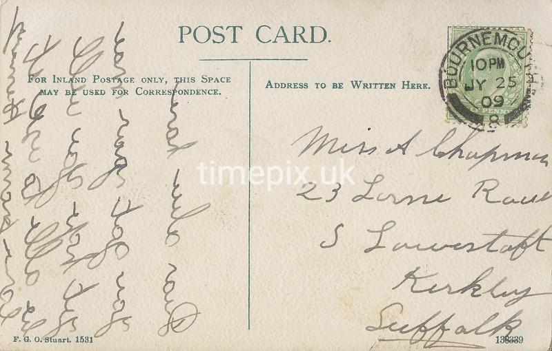 FGOS_01531r, Reverse of Edwardian Postcard of Buckler's Hard, Beaulieu, Hants, by FGO Stuart (message written in mirror writing)