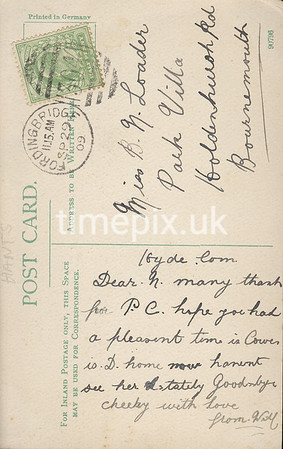 FGOS_01166br, Reverse of an Edwardian postcard of Shirley, Southampton posted in Fordingbridge in 1909