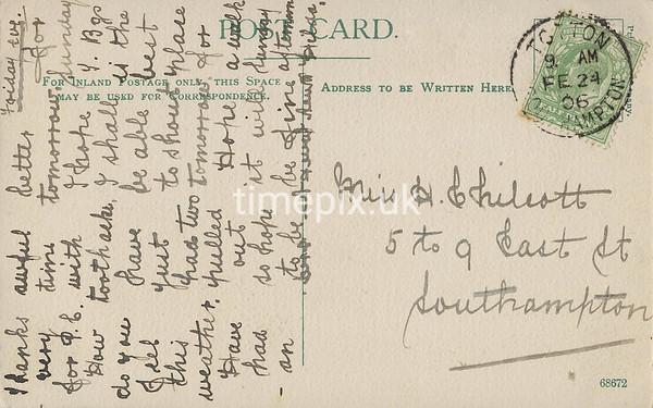 FGOS_00579, Reverse of Edwardian postcard of Edwardian postcard of Beaulieu Abbey (written in columns)