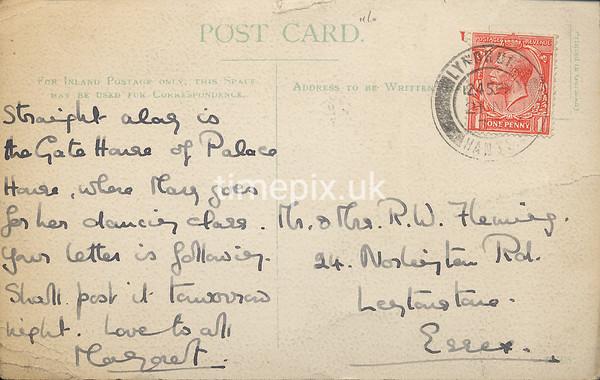 FGOS_01215r, Reverse of Edwardian postcard of Beaulieu Mill by FGO Stuart