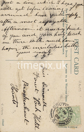 FGOS_01450r, Reverse of an Edwardian postcard of Shirley, Southampton, posted in 1908