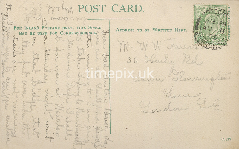 FGOS_01089r, Reverse of Edwardian postcard of Sea Road, Boscombe posted in Bournemouth in 1909