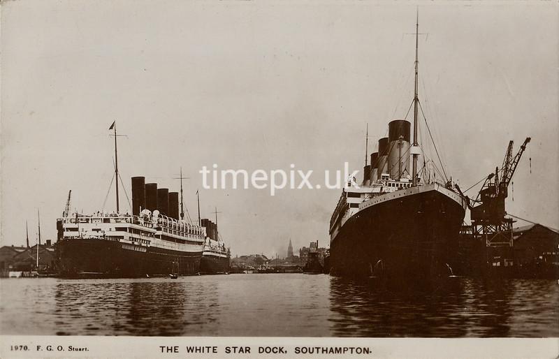 Edwardian postcard of ships at Southampton by FGO Stuart