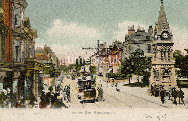 FGOS_00407, Edwardian postcard of Above Bar, Southampton by FGO Stuart dated 1906
