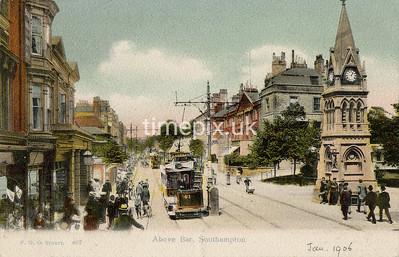 FGOS_00407, Edwardian postcard of Above Bar, Southampton by FGO Stuart dated 1906