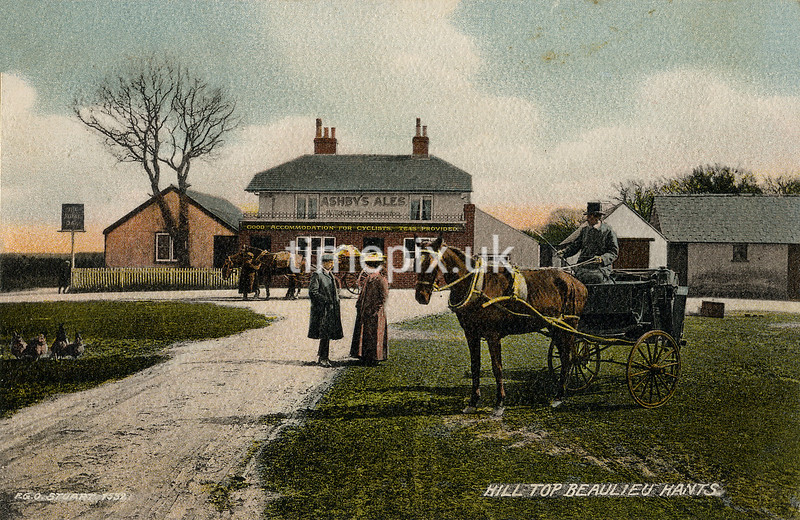 FGOS_01532, Edwardian Postcard of the Royal Oak Pub, Beaulieu, by FGO Stuart.