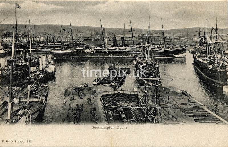 FGOS_00693mis, Edwardian postcard of Southampton Docks by FGO Stuart c1905