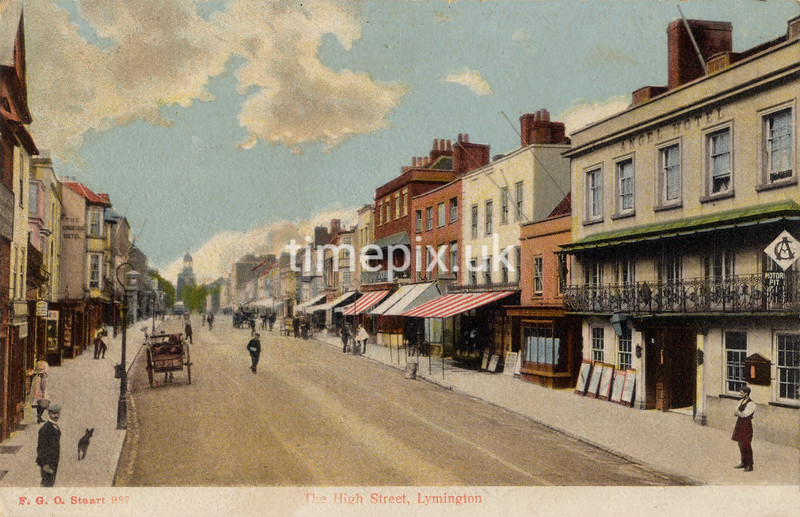 FGOS_00937a, Edwardian postcard of High Street, Lymington by FGO Stuart