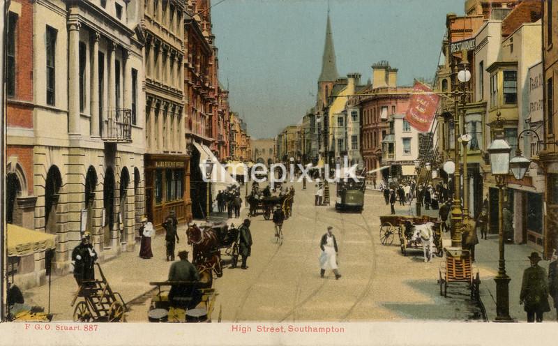 FGOS_00887a, Edwardian postcard of High Street, Southampton by FGO Stuart c1905