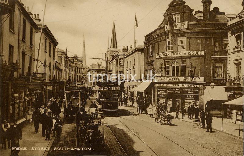 FGOS_00449a, Edwardian postcard of Bridge Street, Southampton by FGO Stuart, c1910
