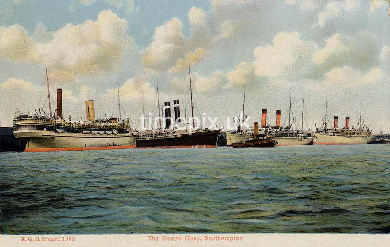 FGOS_01362, Edwardian postcard of ships at Southampton by FGO Stuart c1912