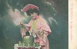 1908_HappyNewYear_f, Edwardian postcard posted in 1908