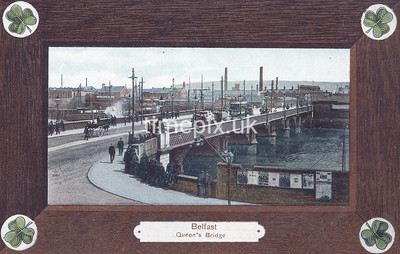 PC_Woolstone-221F, Edwardian postcard of Queen's Bridge, Belfast by Woolstone Bros