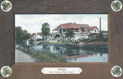 PC_Woolstone-221E, Edwardian postcard of  Lagan boat house, Belfast by Woolstone Bros