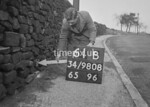 SD980861B, Man marking Ordnance Survey minor control revision point with an arrow in 1950s