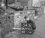 SD990554B, Man marking Ordnance Survey minor control revision point with an arrow in 1950s