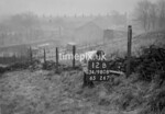 SD980812B, Man marking Ordnance Survey minor control revision point with an arrow in 1950s