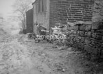 SD980899A, Man marking Ordnance Survey minor control revision point with an arrow in 1950s
