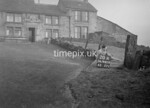 SD980920A, Man marking Ordnance Survey minor control revision point with an arrow in 1950s