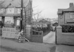 SD970465B, Man marking Ordnance Survey minor control revision point with an arrow in 1950s