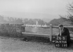 SD970426B, Man marking Ordnance Survey minor control revision point with an arrow in 1950s
