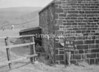 SD941844R, Man marking Ordnance Survey minor control revision point with an arrow in 1950s