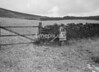 SD941891A, Man marking Ordnance Survey minor control revision point with an arrow in 1950s