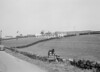 SD941425A, Man marking Ordnance Survey minor control revision point with an arrow in 1950s