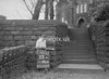 SD941853A, Man marking Ordnance Survey minor control revision point with an arrow in 1950s