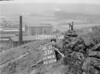 SD941633A, Man marking Ordnance Survey minor control revision point with an arrow in 1950s