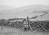 SD951608A, Man marking Ordnance Survey minor control revision point with an arrow in 1950s