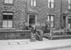 SD941856A, Man marking Ordnance Survey minor control revision point with an arrow in 1950s