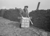 SD941261A, Man marking Ordnance Survey minor control revision point with an arrow in 1950s