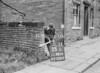 SD941635L, Man marking Ordnance Survey minor control revision point with an arrow in 1950s