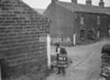 SD941794R, Man marking Ordnance Survey minor control revision point with an arrow in 1950s