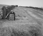 SD960098A, Man marking Ordnance Survey minor control revision point with an arrow in 1950s