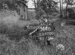 SD970044B, Man marking Ordnance Survey minor control revision point with an arrow in 1950s